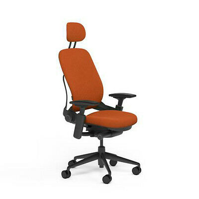 Steelcase Adjustable Leap Desk Chair Headrest Pumpkin Buzz2 Fabric Black Frame