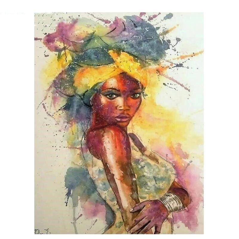 5D Diamond Painting African Woman Wall Art Cross Stitch Wate