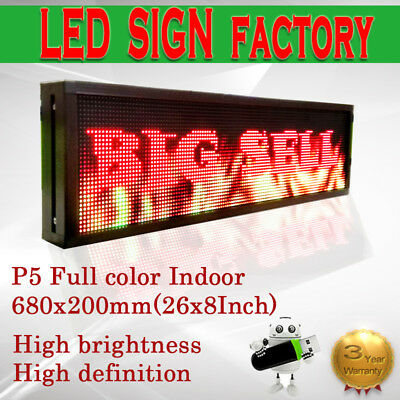 8x 26 Full Color Video P5 Hd Led Sign Programmable Scrolling Message Display