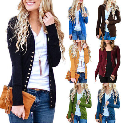 Womens Low Cut V-Neck Long Sleeve Knit Snap Button Down Cardigan Sweater -