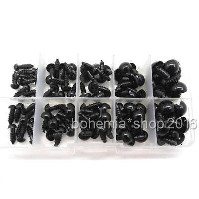 100x Teddyaugen Sicherheitsaugen Kunststoffaugen Puppe Augen 6-12mm schwarz Set