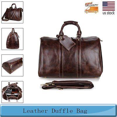 Mens Genuine Leather Large Capacity Duffle Bag Weekender Overnight Bags Traveler