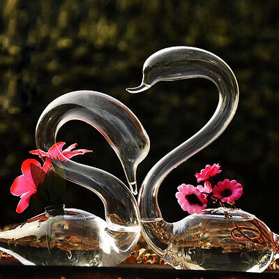 2 PCS Glass Swans Lovers Flower Watering Plants Vase Wedding Gift Home Decor