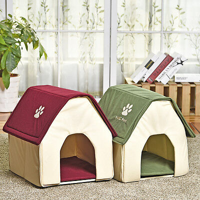 Pet Small Dog Cat House Bed Puppy Cozy Cave Removable Mat Portable Kennel Indoor