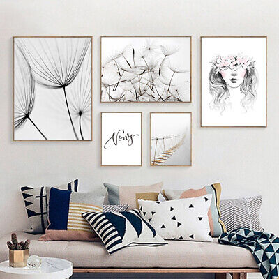 Nordic Style Dandelion Girl Bridge Picture for Living Room Home Decor No Frame