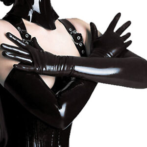 Sexy-Lingerie-Black-Wet-Look-Spandex-Underwear-Long-Gloves-Erotic-Costume-ST06