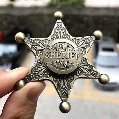 New Metal Sheriff Badge Hand Spinner Finger Fidget Star of David Amulet Talisman