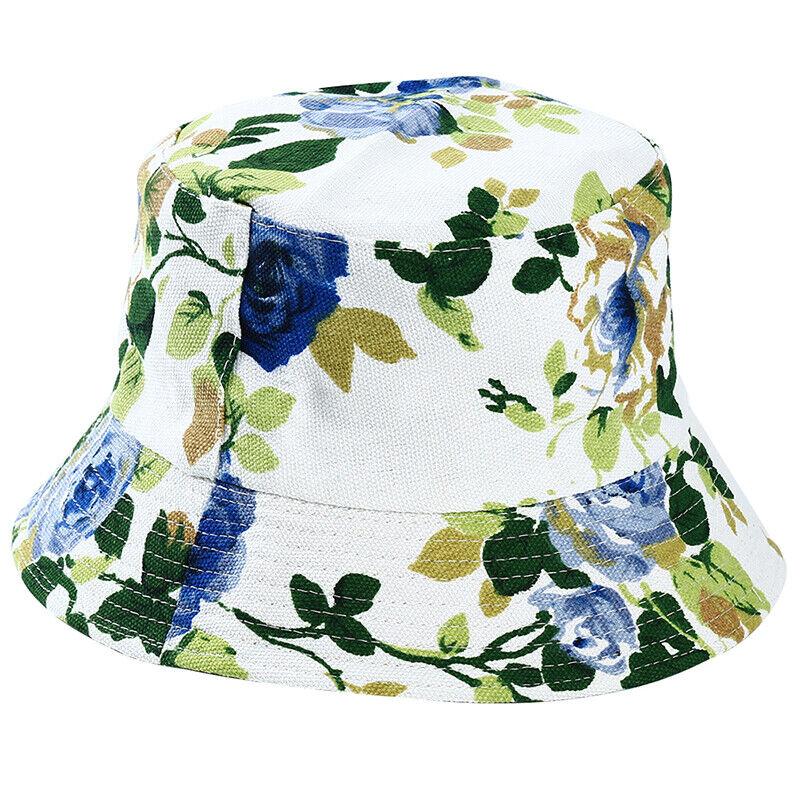 Women Colorful Floral Print Fishing Hat Ladies Summer Sun Hat Bucket Cap Q