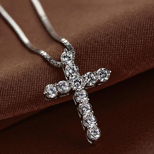 Jewellery - Crystal Cross Pendant Necklace 925 Sterling Silver Chain Women Jewellery Jesus A
