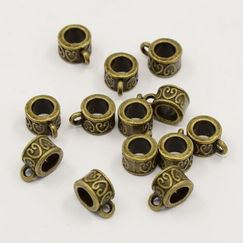 NEW!! 30 pc Hearts Tibetan Style Antique Bronze Bail Beads For European Jewelry