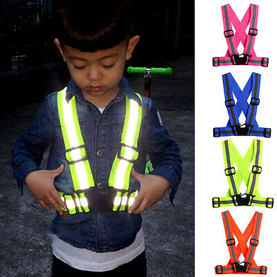 Reflective Adjustable Security High Visibility Vest Gear Stripes Jacket Kids/Adu