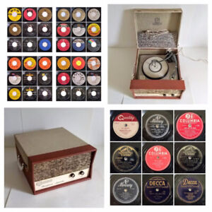 Vintage Viceroy Record Player w/Collection of 45/78rpm Records