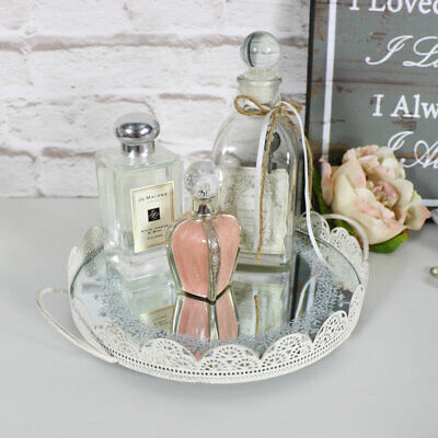 Round cream mirrored display tray candle plate shabby vintage chic wedding gift