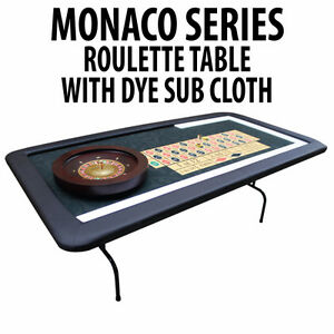 ROULETTE TABLE WITH FOLDING LEGS DYE SUBLIMATED CASINO FELT