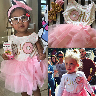 US Baby Girl 1st 2nd 3rd Birthday Tulle Tutu Dress Romper Dress+Headband Outfits](Toddler Girl 3rd Birthday Outfits)