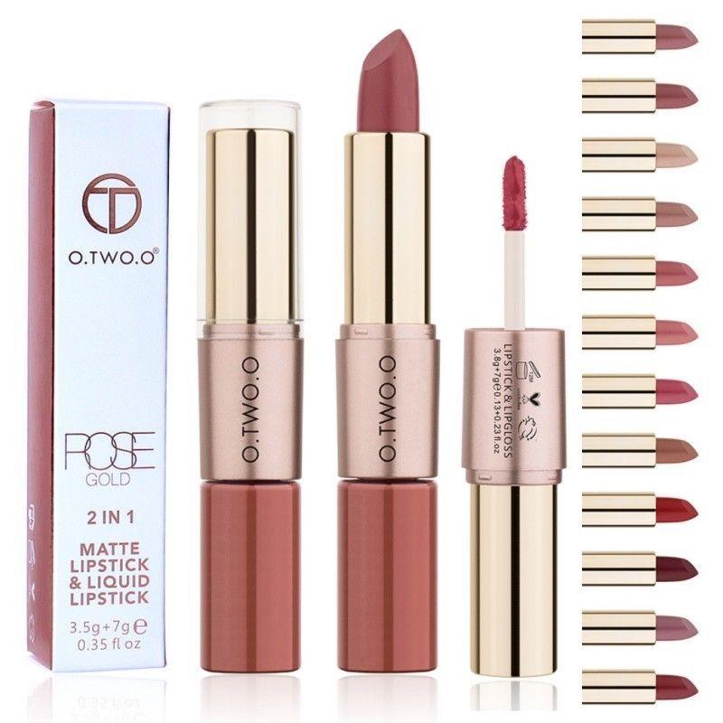 O. Two.o Make-Up Lippenstift Lipgloss Duo Braun Hautfarben Beige Hell Mua