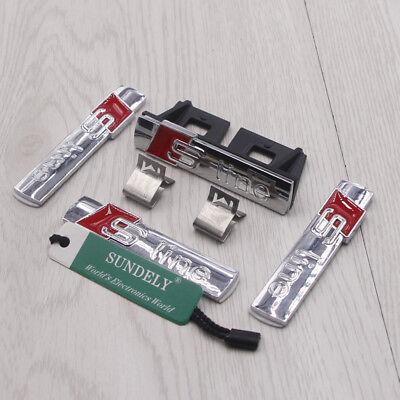 4pcs 3D S line SLine GriIll Sport Emblem Badge Body Decals For Audi S8 Q3 Q5 Q7