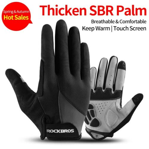 ROCKBROS Bike Full Finger Cycling Gloves Touch Screen Sports Riding Gloves Black