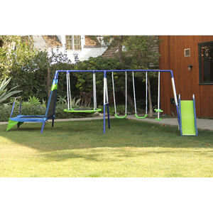 Full play structure with attached trampoline