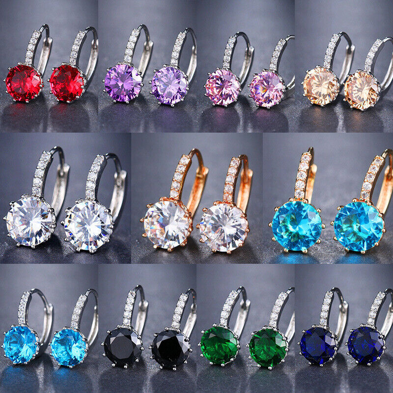Jewellery - 11 Colors Elegant Drop Earrings Women 925 Silver Jewelry Cubic Zircon A Pair/set