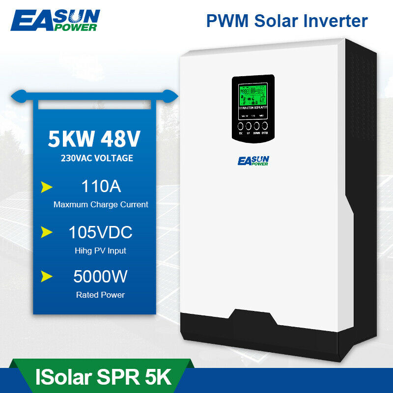 5000W 48V Solar Inverter Off-Grid Pure Sine Wave 50A PWM Solar Charge Controller