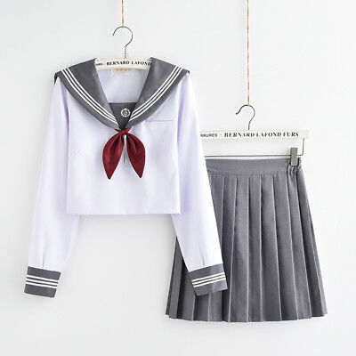 Japanese Sailor School Uniform Women Girl Long Sleeve Pleated Skirt Costume Set