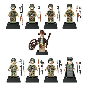 Indiana Jones & WW2 Soldiers Minifigures [9pc] *New*