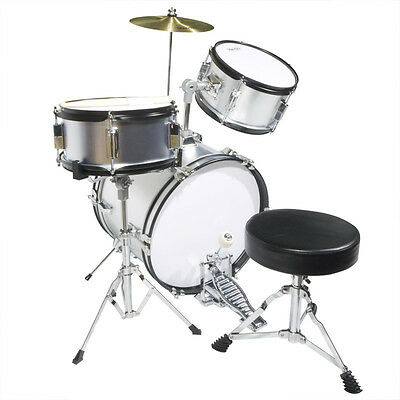 "Mendini 16"" Junior Kids Child Jr. Drum Set Kit ~Silver"