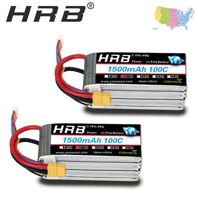 2pcs HRB 3S Lipo 11.1V 1500mAh 100C XT60 200C Battery For Ca