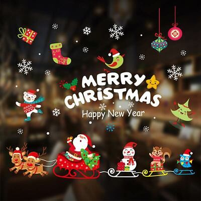 1Set Shop Window Christmas Wall Stickers Snowflake Merry Xmas Display Decor New ()