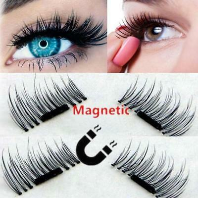 3D Magnetic False Eyelashes Natural Eye Lashes Extension Handmade 4 Pcs/2 Pairs