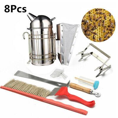 8Pc Bee Stainless Steel Smoker Chisel Hive Tool & Bee Brush Queen Catcher Set UK