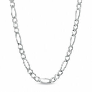 """Men's 7.0mm Figaro Chain Necklace in Sterling Silver - 22"""""""