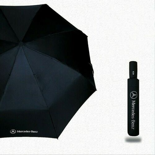 Genuine Mercedes-Benz Compact Folding Rain Black Automatic Umbrella With Cover