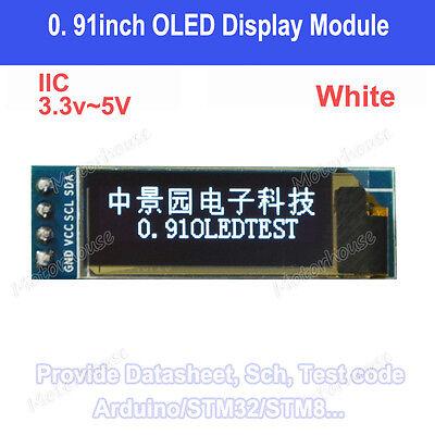 """IIC I2C 0.91/"""" 128x32 white OLED LCD Display Module 3.3v 5v For Arduino PIC t2"""