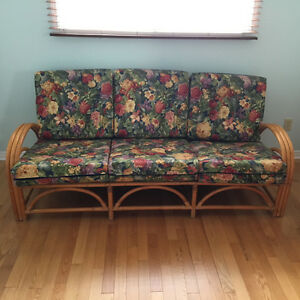 Mid Century rattan, 5 pieces- sofa, 2 chairs, 2 side tables