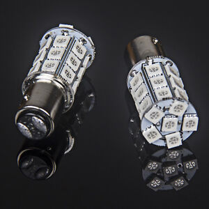 2pcs T25/S25 1157 Bay15d 27-SMD 5050 LED Tail Brake Stop Light Bulb Xenon Red