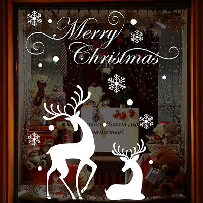 Christmas Shop Window Display White Snowflake Reindeer Wall Stickers Xmas Decor ()
