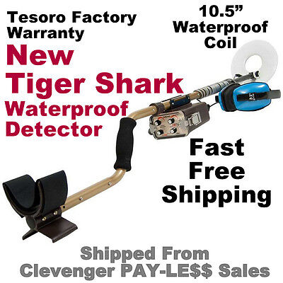 New Tesoro Tiger Shark Waterproof Metal Detector With 10 5  Coil   Free Shipping