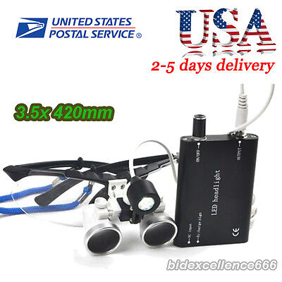 Usa Black-dental Loupes 3.5x 420mm Surgical Binocular Led Head Light Lamp