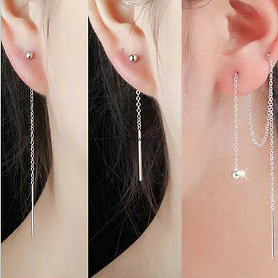 Korean Fashion Womens 925 Sterling Silver Threader Long Link Chain Earrings Gift