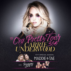 CARRIE UNDERWOOD Cry Pretty Tour Sat May 25th - ROW 2 BELOW COST