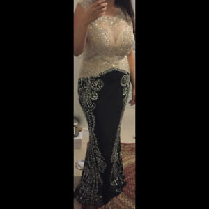 BRAND NEW BLACK / BEIGE BEADED PROM DRESS EVENING GOWN Size 10