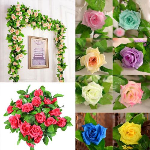 8PACKS Artificial Vine Fake Hanging Flowers Garland Silk Flowers Vines 72 roses