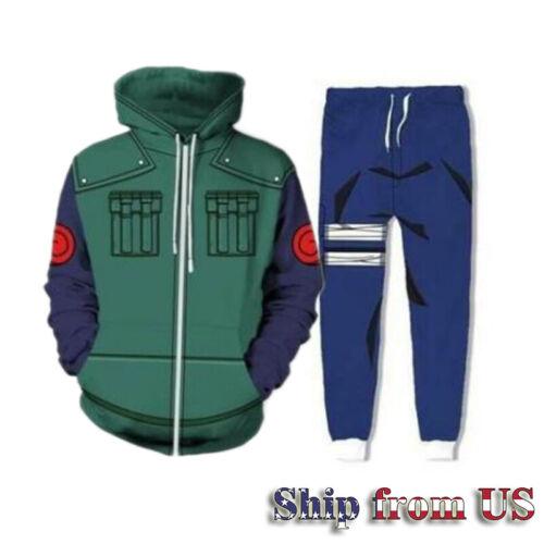 Naruto Kakashi Cosplay Hoodie Sweatshirt Jacket+Pant Costume Tracksuit -3XL Size