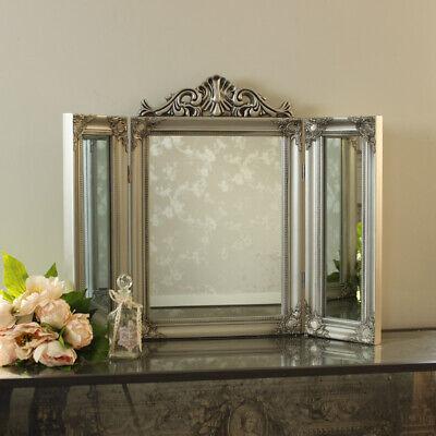 Silber Harz Kunstvoll Schminktisch Dreifach Spiegel Billig Französisch Chic