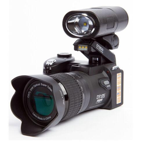 POLO D7200 HD 33MP 1080P Digital SLR Camera +3 Wide Angle Lens +LED Lights Video