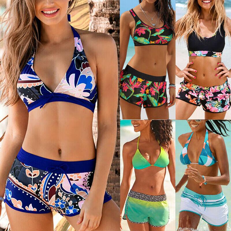Damen Push Up Bikini Set Hotpants Badeanzug Bademode Zweiteilig Sommer Strand