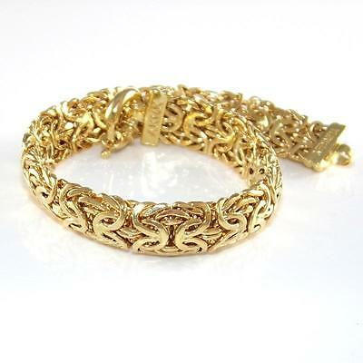 "14K Yellow Gold Byzantine Woven Chain Link Bracelet 7"" 10mm ZQ2"