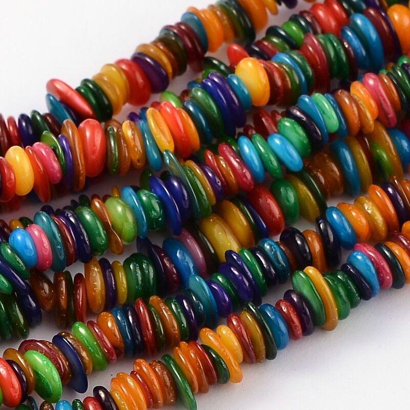 """1 Strand 32/"""" grano filamentos chips de concha colorido para hágalo usted mismo Pulsera Joyería Haciendo"""